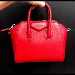 Auth NWT Givenchy Antigonia Mini Red Crossbody Bag